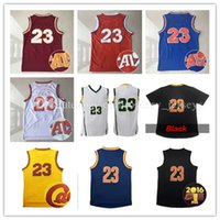 Wholesale Embroidery Logo Shirt - cheap Men's Jersey #23 Stitched Throwback LBJ Basketball Jerseys Embroidery Logos Shirt Free Shipping