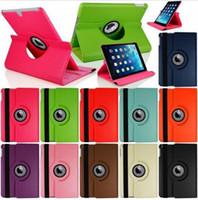 Wholesale Ipad Air Multi Color Case - PU Leather 360 Degree Rotating Multi-angle Stand Folio Smart Wake Up Sleep Case Protection Cover for Ipad Mini 1 2 3 4 Air 2 Pro 9.7 12.9''