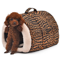 Wholesale leopard dog beds - 2017 New Fashion 2 Color Leopard Easy to Carry Pet Bed Lovely Cats House Dog Kennel Cozy Mat Soft Dog Bed Goods for Pets