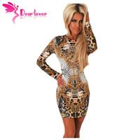 Wholesale Wholesale Leopard Bodycon Dresses - Wholesale- Dear Lover Stylish Hot Sexy Autumn Slim Sheath Bodycon Vestidos Leopard Mirror Print Long Sleeve Mini Dress Women Winter LC22516