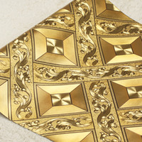 Wholesale Desert ceiling wallpaper diamond lattice KTV gold foil golden living room bar aisle ceiling roof wallpaper