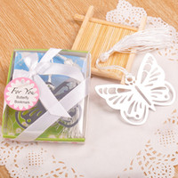 Wholesale silver butterfly favors for sale - Group buy Metal Hollow Butterfly Bookmark With Delicate Tassels Gift Box Package Cheap And Fine Wedding Giveaways Party Favors tzc F R