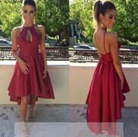 Wholesale gray high low prom dresses - 2017 New Fashion Dark Red Sexy Cocktail Dresses Halter Neck Satin Sleeveless Open Back A Line High Low Evening Prom Gowns Custom Made