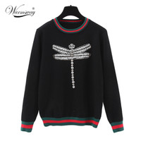 Wholesale Sleeve Diamond Sweater - Wholesale-Europe 2016 long-sleeve Dragonfly Diamonds Beading Embroidery Sweater jumpers pull femme Women Knitted Pullovers WS-142