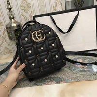 Wholesale Shool Bags - Brand free shipping real Genuine leather backpack shoulder bag 26CM handbag presbyopic Pearl package messenger Shool bag purse SN#G100