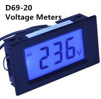 Wholesale Voltmeter Wires - D69-20 Two wires LCD display AC 80-500V voltmeter Panel Monitor with blue backlight volt range 80V 220V 380V 450V 500V