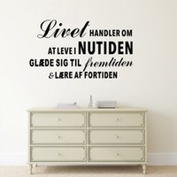 Wholesale Large Inspirational Wall Quotes - Inspirational Quote Wall Sticker livet handler om at level nutiden Danish Wall Decals Living Room Decoration