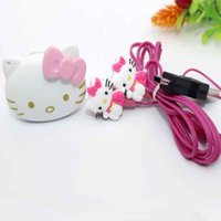 Wholesale voice cabling - Wholesale- 2016 new hello Kitty MP3 music mini player has gift accessories hello Kitty headphones and cable