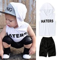 Wholesale Hot Hoody Wholesale - Baby boy hoodie T shirt 2pc set outfits haters printing sleevless hoody T shirt+black pants ins hot letter printing baby outfits