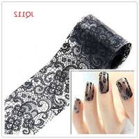 Wholesale Lace French Nail - Beauty Black Lace Transfer Foil Nail Sticker Nail Decals DIY Wraps Manicure Tools French Tips Free Shipping