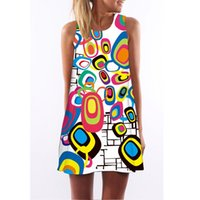 Wholesale Printed Jumpsuit Women - Rainbow circle summer dresses for women Turkey new digital printing prom dresses explosion models dress jumpsuits for women free shipping