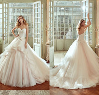 Wholesale Most Sold Dresses - Hot Selling A Line Sweetheart Chapel Train Ivory Organza Appliques Wedding Dresses Most Cheap Bridal Wedding Gowns With Sleeveless