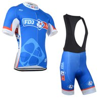 Wholesale fdj team clothing online - New Hot fdj pro cycling jersey team men s cycling clothing quickdry short sleeve shirt bib shorts sets with gel pad cycling wear B1005