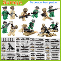 Wholesale World War Ii Military - Kitoz MOC 12pcs World War II USA Army Special Forces Mini Toy Action Figures with Mortar Military Building Blocks Bricks Gift Toy for Boy Ch
