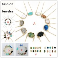Wholesale Chandelier Necklaces Wholesale - Hot Popular Druzy Stone Earrings Necklace Gold Silver Plated Geometry Gem Drusy Stone Earrings Necklace for Lady Women mix colors
