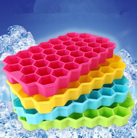 Wholesale Candy Tubs - Silicone Honeycomb Shape Ice Cube Tray Candy Bake Maker Ice Tray Silicone Mold 37 CAVITY ICE MAKER FORM DIY KITCHEN TOOLS KKA1168