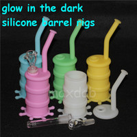 Wholesale Glow Dark Glasses Wholesale - Mat Pad Containers glow in the dark silicone water pipe oil rigs glass dowm stem and glass bowl dab rigs free dhl