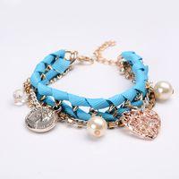 Wholesale Elements Pearl Bracelet - Love coin pearl multi - element braided multi - layer bracelet female peach heart hollow bracelet