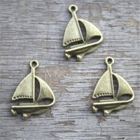 25pcs - Segelboot Charms, antike Bronze Segelboot Charm Anhänger 24x17mm