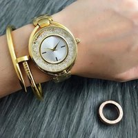 Wholesale Swan Style - Fashion swan style Brand Women's Girls crystal dial Stainless steel band Quartz wrist Watch