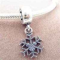 Wholesale sparkle bead bracelets resale online - 100 Sterling Silver Sparkling Snowflake Dangle Charm Bead Fits European Pandora Jewelry Bracelets Necklaces Pendants