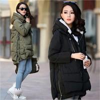 Wholesale Down Coat Europe - Winter Jacket Women 2016 New Europe Style Fashion Loose Medium Long Autumn Winter Plus Size Down Parkas Lady Down Coat Hot M0514