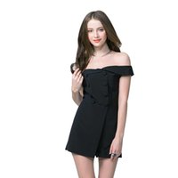 Wholesale Double Breasted High Waist Shorts - Fashion Women Summer Solid Double-breasted Shorts Women's Casual Jumpsuit Off Shoulder Temperament High Waist Rompers