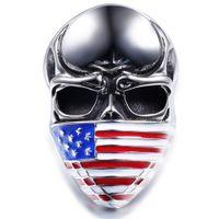 ingrosso regali gotici per gli uomini-American Flag Infidel Skull Biker Anello in acciaio inossidabile gioielli Gotico Cranio Motor Biker Men Anello per gli uomini regalo