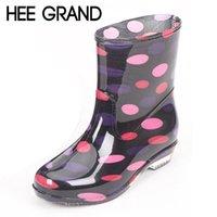 Wholesale Platform Rubber Rain Shoes - Wholesale-HEE GRAND Spot Rain Boots Platform Shoes Woman Slip On Casual Women Ankle Boots Waterproof Flats Fashion Women Shoes XWX4532
