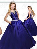 vestido azul hermoso del desfile de las muchachas al por mayor-Royal Blue Teens Pageant Dresses 2017 Ritzee con Tear Drop Back y cuello moldeado Hermosa tafetán Girl Dress con bolsillos personalizados