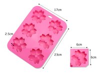 Wholesale Cherry Soap - 6 Even Cherry Blossoms Flower Cake Mold Silicone Flower Fondant Mould Cupcake Soap Molds Household Baking Mould 2pcs Free china post