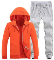 Wholesale Hooded Add Wool - Men's sports suit new listing flowers Add wool add thick casual sports suit keep warm outdoor sports suit