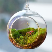 ingrosso paesaggio matrimonio-Trasparente sfera globo forma chiaro appeso vaso di vetro piante di fiori terrario contenitore micro paesaggio fai da te decorazioni per la casa di nozze