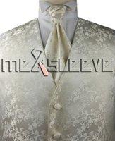 chaleco marfil al por mayor-Sastre formal Marfil floral de primera calidad para el novio Chaleco (chaleco + corbata de ascot + gemelos + pañuelo)