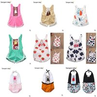 Wholesale Wholesale Bodycon Clothing - Baby Floral Romper 2017 Summer Sleeveless Bodycon Jumpsuit Baby Onesies Girl Jumpsuit Toddler Outfit Infant Outwear Bodysuit Baby Clothes