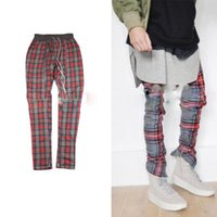 Wholesale Hiphop Jogging Pants - 2017 Latest JUSTIN BIEBER FOG FEAR OF GOD Scotland plaid Men jogging pants hiphop Fashion Casual grid pants Kanye West S-XL