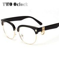 Wholesale Eyeglasses Skulls - Wholesale- TWO Oclock Classic Semi-Rimless Skull Eyeglasses Frames Women Men Female Eye Glasses Spectacle Optical Frame Myopia Oculos 1269