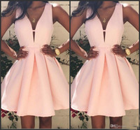 Wholesale Special Occasion Mini Dress - 2016 Pink Short Cocktail Dresses V neck Backless Stain Mini Stain Ruffles Prom Party Dress Custom Special Occasion Homecoming Gowns