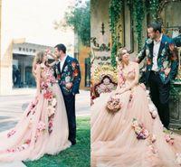 ein schulter sweep hochzeitskleid großhandel-2018 Champagne Blumen A Line Brautkleider One Shoulder Sweetheart Designer Brautkleider Online mit Kapelle Zug