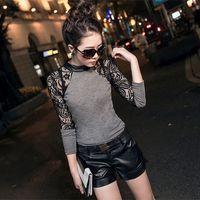 Wholesale Women Long Leather Sleeve Shirts - Wholesale- MuLian 2016 New Fashion Long Sleeve Lace Women T Shirt Leather Crew Neck Slim Splicing Sexy Tops Black Gray S M L XL XXL