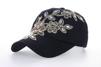 Wholesale Crystal Studded - Women Variety Rhinestone &Crystal Shining Studded Cotton Denim Visor Hat Bling Adjustable Baseball Caps Free Shipping