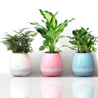 Wholesale Plastic Button Flower - Hot mini smart flowerpot sensor Bluetooth speaker Flower pot Plastic Green plant pots decorative Macetas pot Playing Smart Music