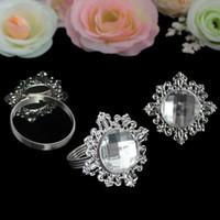 Wholesale Wedding Serviettes - Wholesale- 48pcs Diamond Acrylic Stone Napkin Rings Silver-tone Serviette Holder Wedding Banquet Bridal Dinner Table Favor Supply
