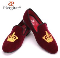 Wholesale Design Velvet Fabric - Embroidered Gold Crown Design Men Velvet Shoes Fashion Men Smoking Slippers male wedding and party loafers US5-14 Free shipping