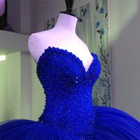 Wholesale Vestido Plus Size Renda Longo - Fully Crystal Beaded Bodice Corset Royal Blue Wedding Dresses Ball Gowns Customized Made Shiny Bridal Dress vestido longo de renda