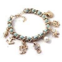 Wholesale Wholesale Starfish Cuff Bracelet - Wholesale-Fashion New Ocean Series Hippocampal Conch Shells Starfish Gold Pendant Leather Bracelet For Women High Quality Jewelry