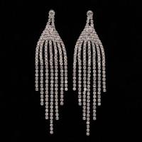Wholesale Plants Article - Fashion Jewelry Crystal Water Drop Earrings for Women Elegant Rhinestone Silver Color Wedding Earrings The bride adorn article