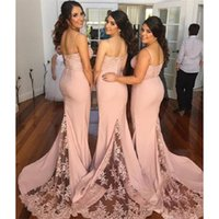 Wholesale dress boda - 2017 Pearl Pink Bridesmaids Dresses Spaghetti Straps Mermaid Sweep Train Maid Of Honor Gowns Elegant Vestidos De Madrina De Boda