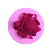 moldes 3d para pasteles al por mayor-DIY Tortuga de Mar 3D de Silicona Fondant Molde Herramienta de Decoración de Pasteles Pudín de Chocolate Molde de Pastel Herramientas Para Hornear Pasteles Jabón Moldes