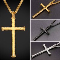 Wholesale Unique Bamboo - U7 Unique Cross Pendant Necklace with Bamboo Scales Shape Fashion Christian Jewelry Stainless Steel Gold Black Gun Plated Chain Gift GP2426